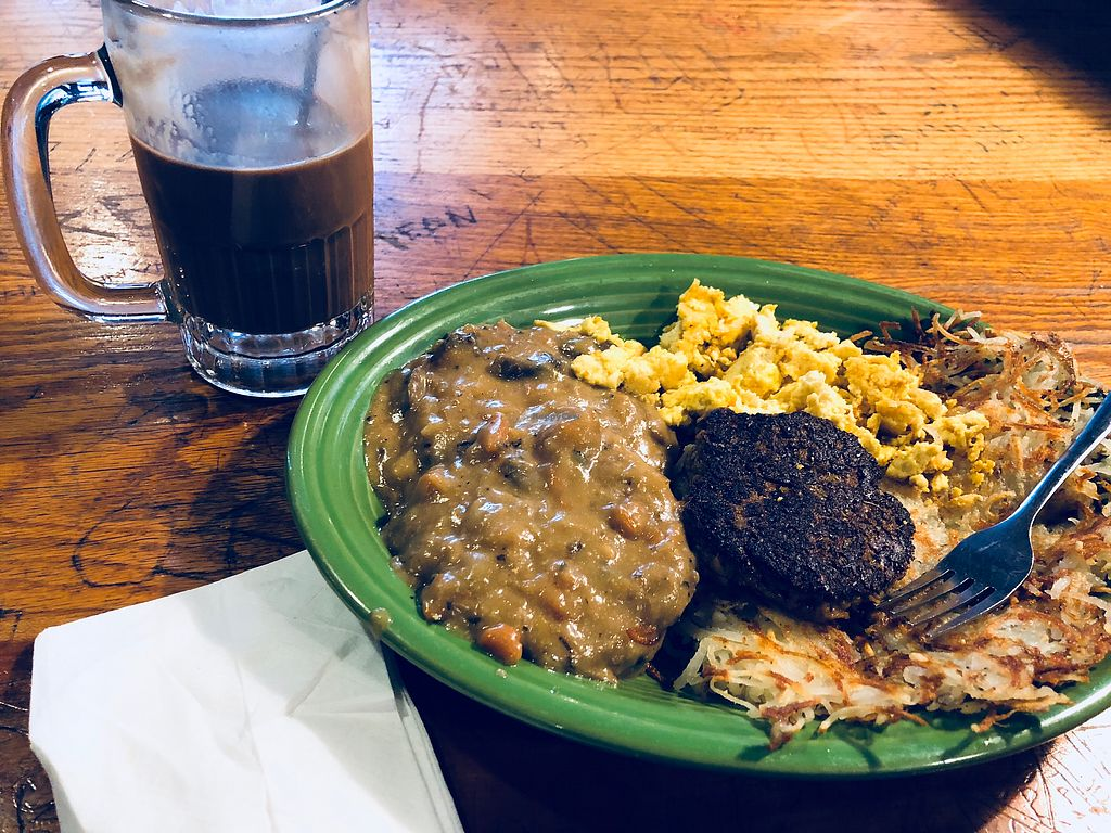"""Photo of Hard Times Cafe  by <a href=""""/members/profile/Bgeezy"""">Bgeezy</a> <br/>Vegan biscuits and sausage <br/> February 28, 2018  - <a href='/contact/abuse/image/2134/364693'>Report</a>"""