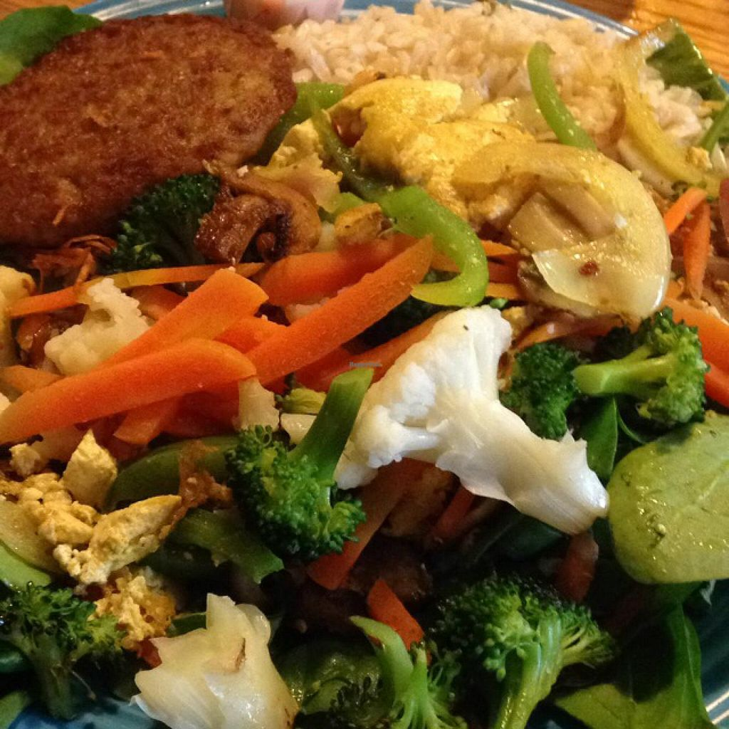 """Photo of Hard Times Cafe  by <a href=""""/members/profile/fitmetalvegan2013"""">fitmetalvegan2013</a> <br/>tofu garden scramble with vegan sausage patty  <br/> March 4, 2014  - <a href='/contact/abuse/image/2134/65316'>Report</a>"""