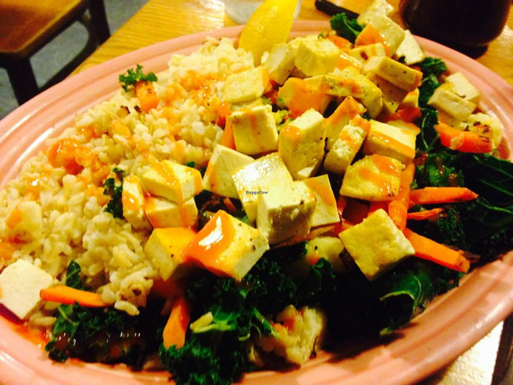"""Photo of Hard Times Cafe  by <a href=""""/members/profile/fitmetalvegan2013"""">fitmetalvegan2013</a> <br/>steamed vegetables & rice with tofu  <br/> March 4, 2014  - <a href='/contact/abuse/image/2134/65317'>Report</a>"""
