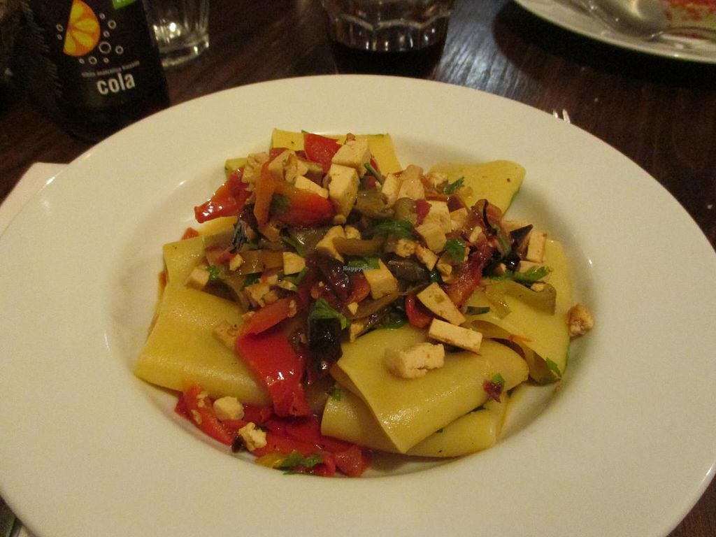"""Photo of CLOSED: Amico Bio  by <a href=""""/members/profile/Littlething"""">Littlething</a> <br/>Vegan pasta with tofu, red bell pepper and zucchini  <br/> September 10, 2014  - <a href='/contact/abuse/image/21362/79508'>Report</a>"""
