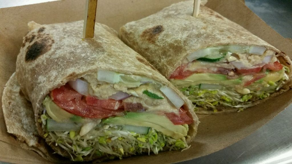 """Photo of Farmers Market Store & Deli Cafe  by <a href=""""/members/profile/eric"""">eric</a> <br/>vegan hummus wrap <br/> August 6, 2017  - <a href='/contact/abuse/image/21366/289524'>Report</a>"""