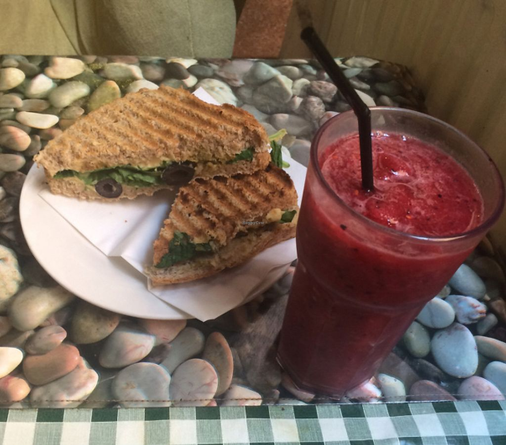 """Photo of Nexus Art Cafe  by <a href=""""/members/profile/EsforEmily"""">EsforEmily</a> <br/>hummus, olive and spinach sandwhich with the berry smoothie <br/> July 29, 2016  - <a href='/contact/abuse/image/21391/192589'>Report</a>"""
