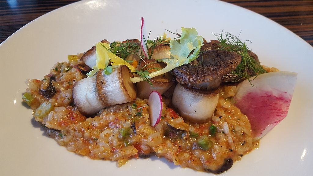 """Photo of Roy's  by <a href=""""/members/profile/kimbarley"""">kimbarley</a> <br/>Mushroom scallops over sundries tomato risotto <br/> April 8, 2018  - <a href='/contact/abuse/image/21396/382255'>Report</a>"""