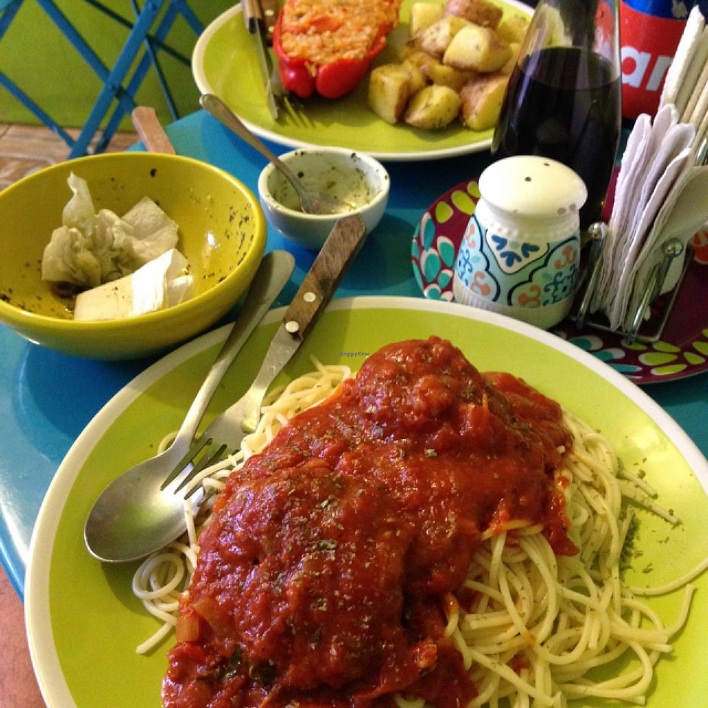 """Photo of Estrella Negra  by <a href=""""/members/profile/pistol_pete"""">pistol_pete</a> <br/>Risotto stuffed red pepper with potatoes and spaghetti with 'meatballs' (home made soya patties) <br/> November 28, 2015  - <a href='/contact/abuse/image/21442/126407'>Report</a>"""
