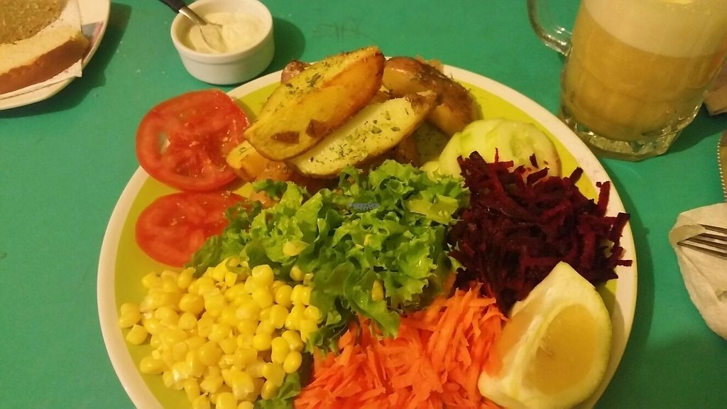 """Photo of Estrella Negra  by <a href=""""/members/profile/76vegandragons"""">76vegandragons</a> <br/>Estrella Negra - deliciously filling multicoloured salad with potatoes and vegan garlic sauce <br/> November 19, 2016  - <a href='/contact/abuse/image/21442/192359'>Report</a>"""