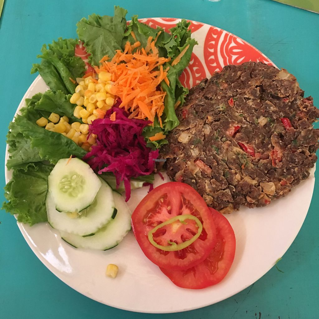 """Photo of Estrella Negra  by <a href=""""/members/profile/VeganVicky"""">VeganVicky</a> <br/>soy burguer with salad <br/> February 19, 2017  - <a href='/contact/abuse/image/21442/228316'>Report</a>"""