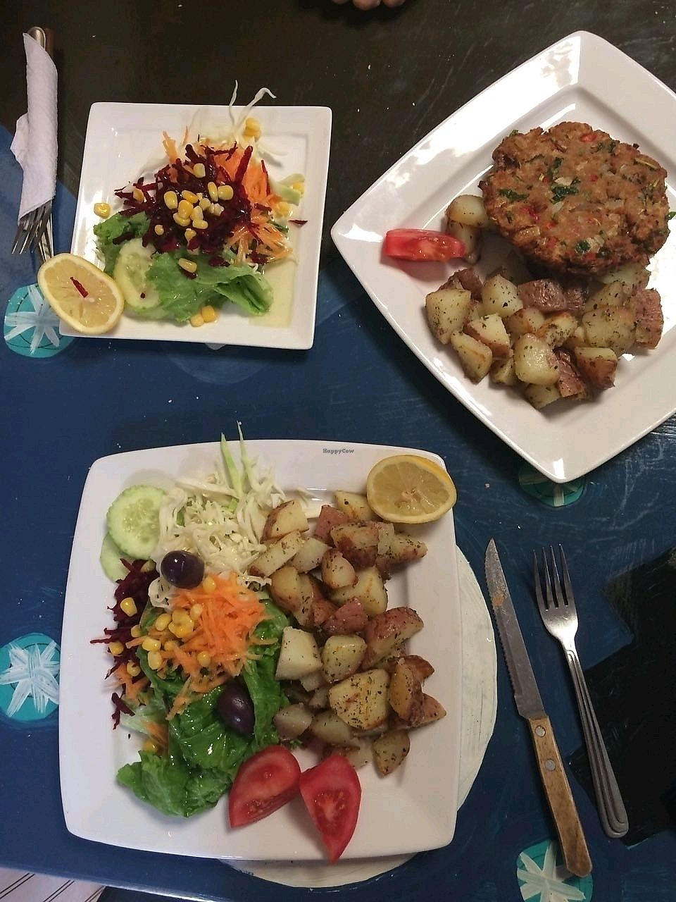 """Photo of Estrella Negra  by <a href=""""/members/profile/schlechteIdee"""">schlechteIdee</a> <br/>Meal salad, menu salad (starter) and soy burger  <br/> October 7, 2017  - <a href='/contact/abuse/image/21442/312847'>Report</a>"""