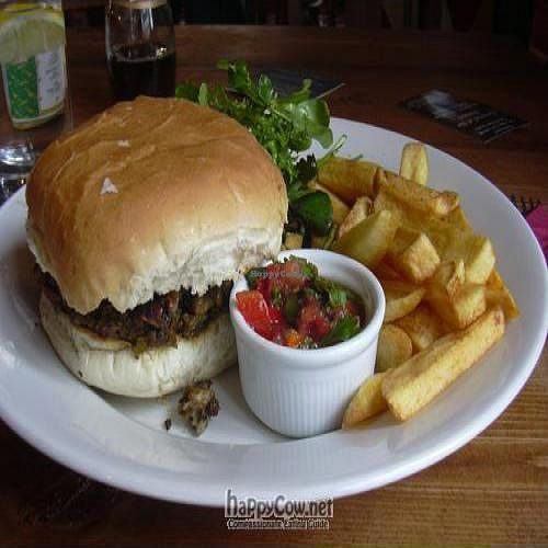 """Photo of The Snowdrop Inn  by <a href=""""/members/profile/wildfang"""">wildfang</a> <br/>mushroom-lentil burger with chips and fresh salsa <br/> May 19, 2010  - <a href='/contact/abuse/image/21447/4537'>Report</a>"""