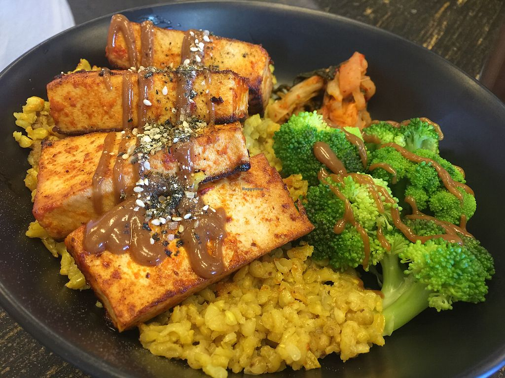 """Photo of Wise Cicada Wholefood Cafe  by <a href=""""/members/profile/Tiggy"""">Tiggy</a> <br/>Tofu Dengaku $18 - Not a lot of flavour  <br/> December 29, 2017  - <a href='/contact/abuse/image/21463/340345'>Report</a>"""