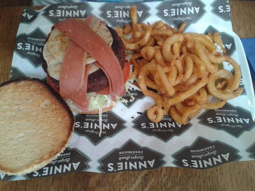 "Photo of Annie's Burger Shack  by <a href=""/members/profile/jennyc32"">jennyc32</a> <br/>Bacon and pancake vegan burger <br/> April 27, 2015  - <a href='/contact/abuse/image/21507/100475'>Report</a>"