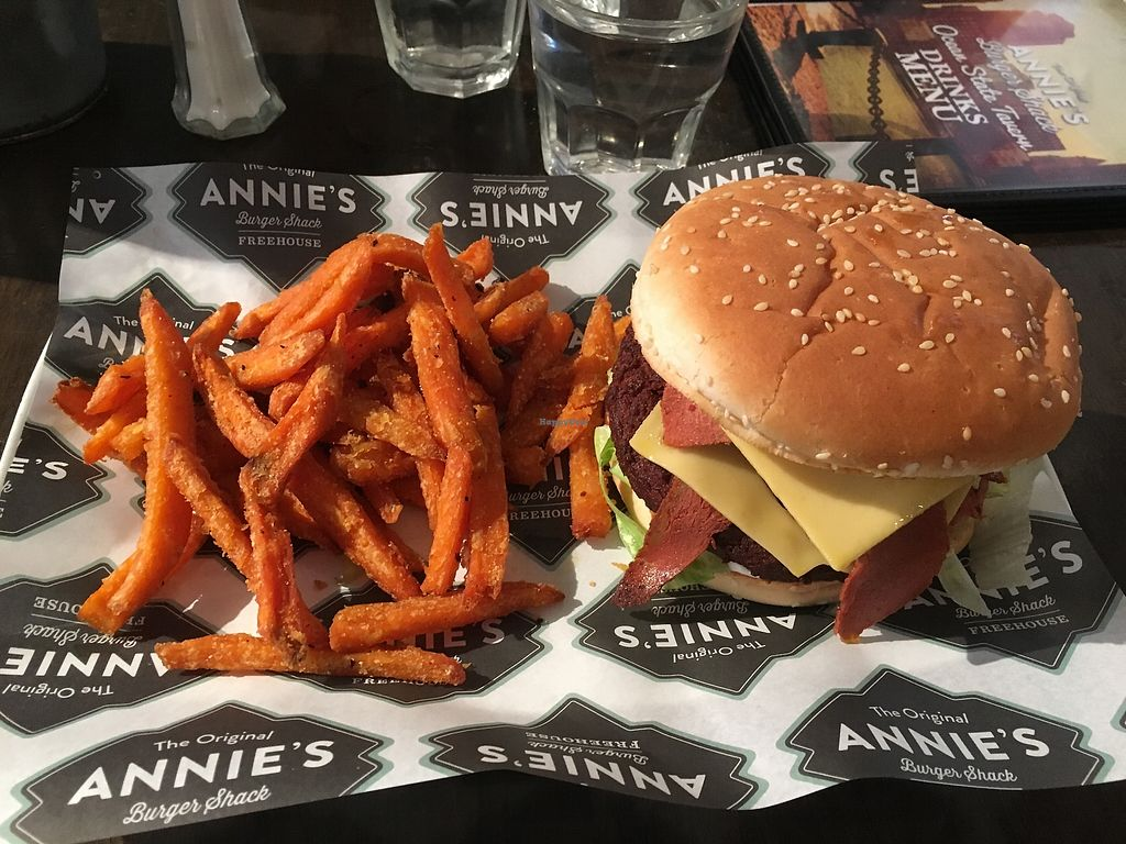 "Photo of Annie's Burger Shack  by <a href=""/members/profile/sml51"">sml51</a> <br/>The Reggie - vegan version: brioche bun, vegan bacon, vegan cheese, vegan mayo, hashbrown, lettuce with sweet potato fries <br/> July 31, 2017  - <a href='/contact/abuse/image/21507/287345'>Report</a>"