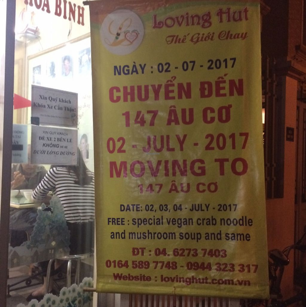 "Photo of Loving Hut - Tay Ho  by <a href=""/members/profile/Mitjacinda"">Mitjacinda</a> <br/>RELOCATION  <br/> May 25, 2017  - <a href='/contact/abuse/image/21552/262402'>Report</a>"