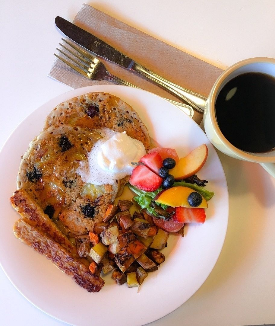 "Photo of Lettuce Love Cafe  by <a href=""/members/profile/KellyChilds"">KellyChilds</a> <br/>Pancakes and tempeh bacon for Brunch <br/> August 30, 2016  - <a href='/contact/abuse/image/21598/172431'>Report</a>"