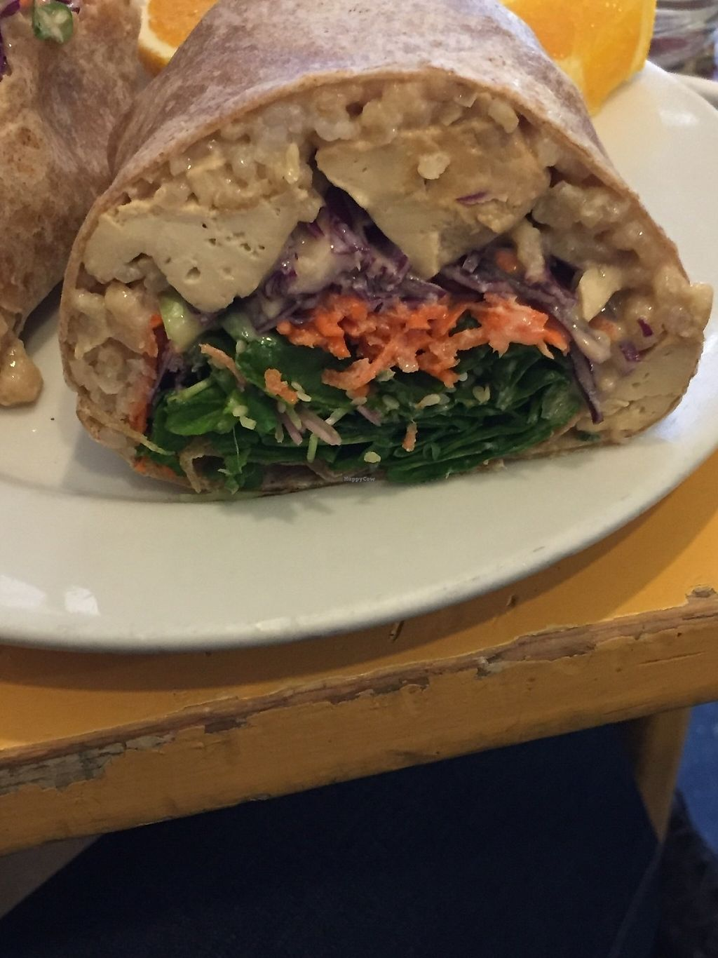 """Photo of Main Squeeze Natural Foods Cafe  by <a href=""""/members/profile/KaitlynnGill"""">KaitlynnGill</a> <br/>Fortune wrap. Rice, tofu, spinach, carrots, scallion and ginger sauce <br/> May 5, 2017  - <a href='/contact/abuse/image/2159/255950'>Report</a>"""