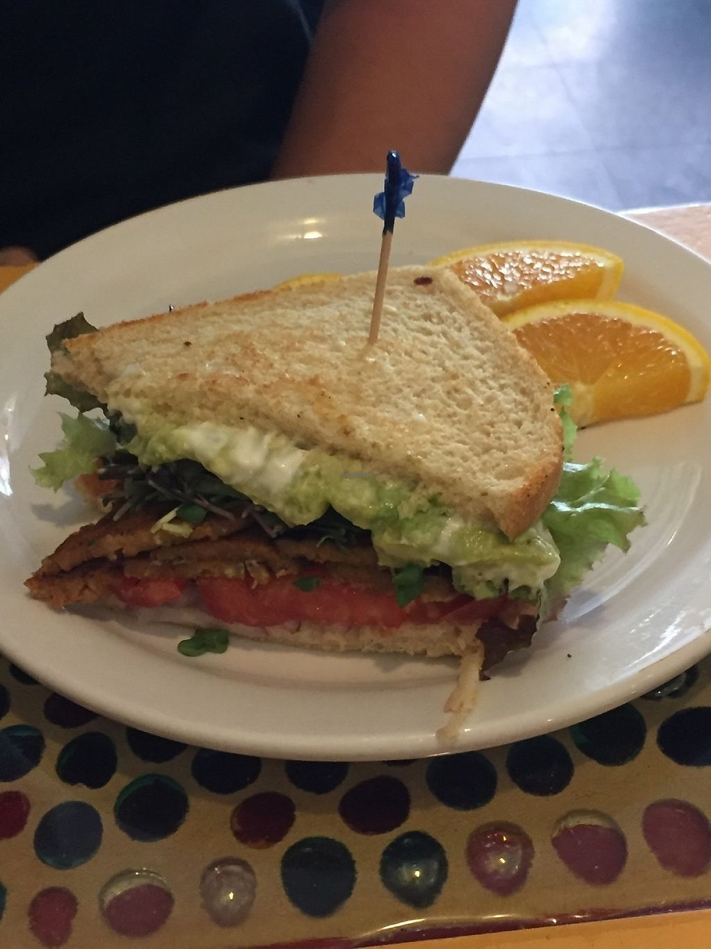 """Photo of Main Squeeze Natural Foods Cafe  by <a href=""""/members/profile/KaitlynnGill"""">KaitlynnGill</a> <br/>The notorious BLT. Tempeh bacon with lettuce and tomato and vegan mayo.  <br/> May 5, 2017  - <a href='/contact/abuse/image/2159/255951'>Report</a>"""