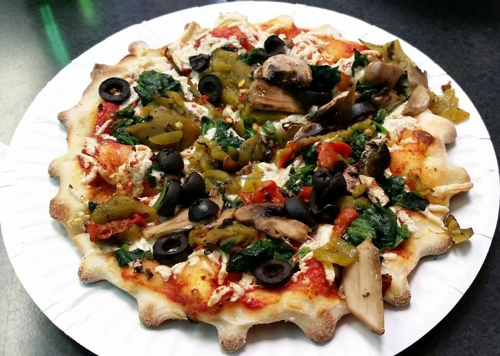 """Photo of Pizza Etc.  by <a href=""""/members/profile/bduboff"""">bduboff</a> <br/>6' Vegan/Daiya pizza with green chillies, mushrooms, spinach and black olives ... the perfect dinner <br/> January 11, 2015  - <a href='/contact/abuse/image/21641/209297'>Report</a>"""