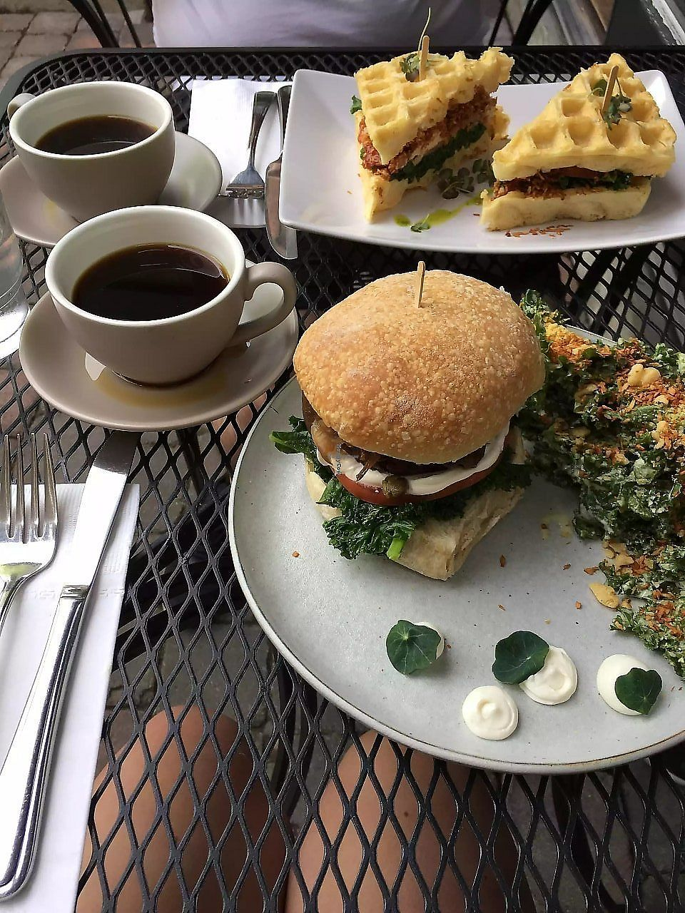 "Photo of Cafe My House  by <a href=""/members/profile/KellyAnnWhite"">KellyAnnWhite</a> <br/>Burger and chipotle bacon waffle sandwich  <br/> March 16, 2018  - <a href='/contact/abuse/image/21643/371181'>Report</a>"