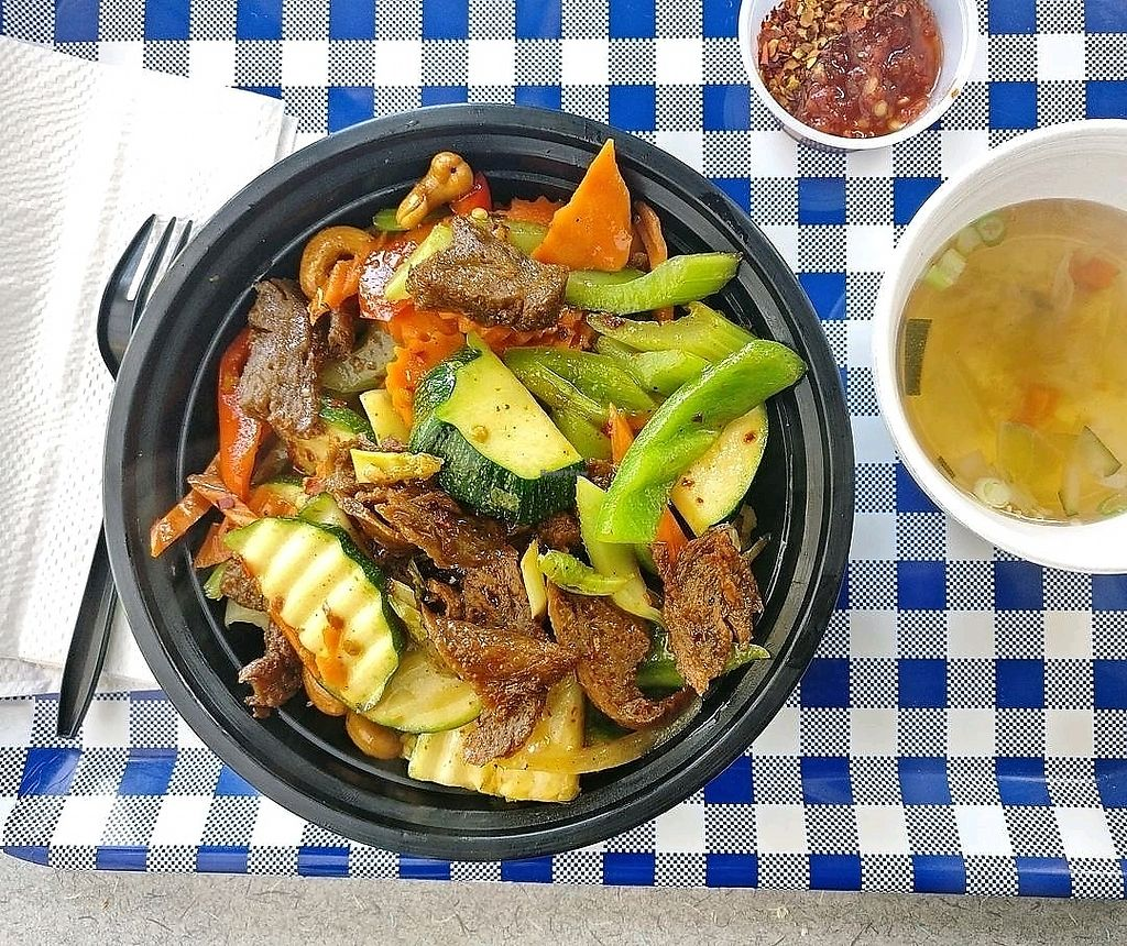"""Photo of Cafe Jay  by <a href=""""/members/profile/KellyBone"""">KellyBone</a> <br/>Cashew with """"Soy Meat"""" which is actually seitan <br/> September 9, 2017  - <a href='/contact/abuse/image/21656/302238'>Report</a>"""