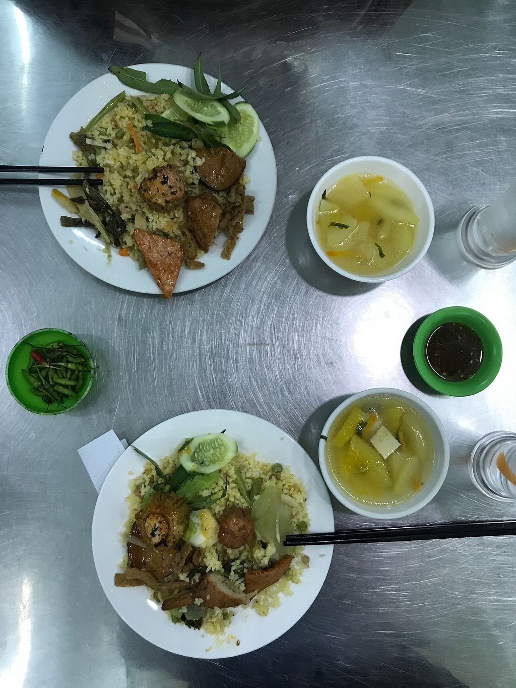 "Photo of Quán Com Chay Au Lac  by <a href=""/members/profile/Stedtler"">Stedtler</a> <br/>Plate with rice, mock meat, vegtables and a soup, very tasty! <br/> September 7, 2017  - <a href='/contact/abuse/image/21707/301776'>Report</a>"