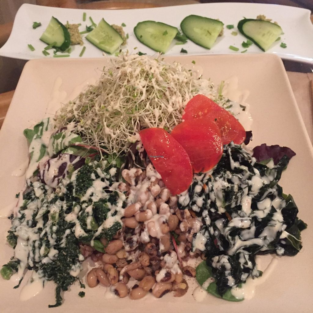 """Photo of Peace Cafe  by <a href=""""/members/profile/Lisamareeb"""">Lisamareeb</a> <br/>The Yogini with a side dish of cucumber and hummus. Soooo good! <br/> March 29, 2016  - <a href='/contact/abuse/image/21735/141706'>Report</a>"""