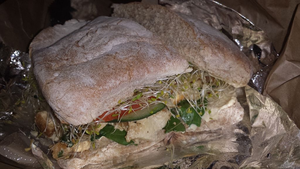 """Photo of Peace Cafe  by <a href=""""/members/profile/vegansoul"""">vegansoul</a> <br/>Popeye sandwich Peace Cafe <br/> May 25, 2016  - <a href='/contact/abuse/image/21735/150773'>Report</a>"""