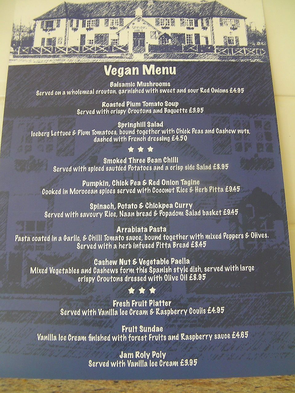 """Photo of The Springhill  by <a href=""""/members/profile/Veganmale"""">Veganmale</a> <br/>Vegan Menu at the Springhill  <br/> July 17, 2017  - <a href='/contact/abuse/image/21746/344528'>Report</a>"""