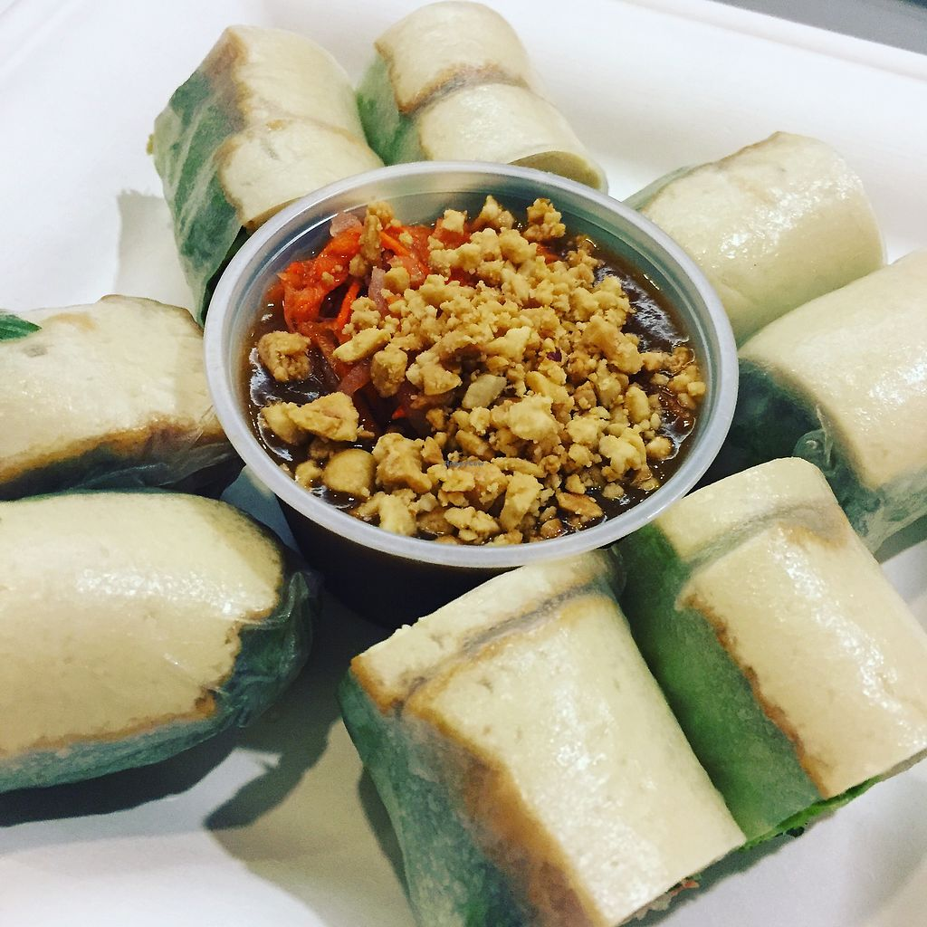"""Photo of Loving Hut - Westfield Mall Food Emporium  by <a href=""""/members/profile/Pthom"""">Pthom</a> <br/>spring rolls with tofu and peanut sauce <br/> June 27, 2017  - <a href='/contact/abuse/image/21790/274065'>Report</a>"""