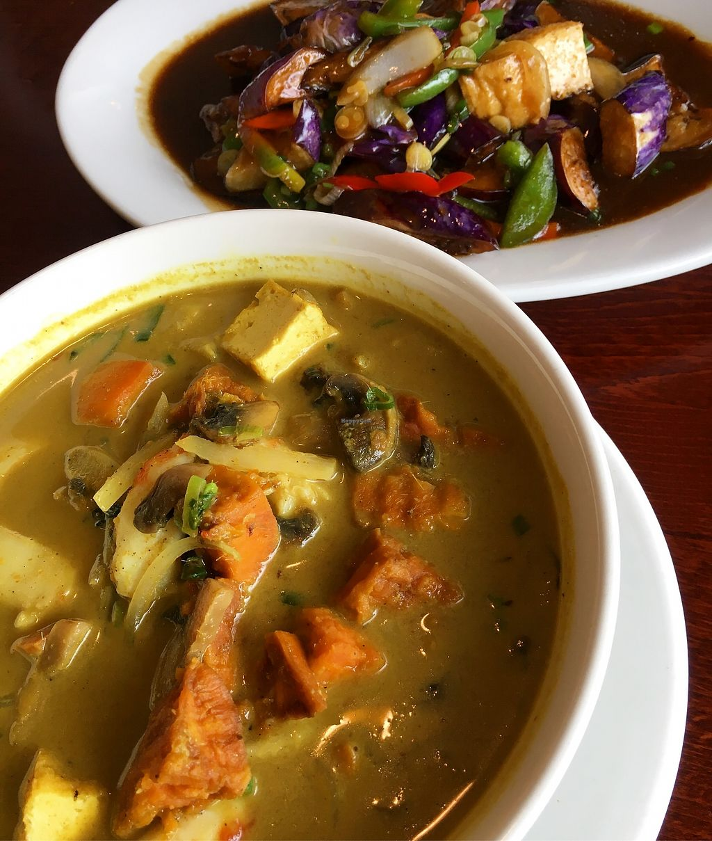 """Photo of Vegan Kitchen  by <a href=""""/members/profile/sousuneautrelentille"""">sousuneautrelentille</a> <br/>Eggplant stir fry (top) and sweet potato curry (bottom) <br/> March 5, 2018  - <a href='/contact/abuse/image/21811/366910'>Report</a>"""