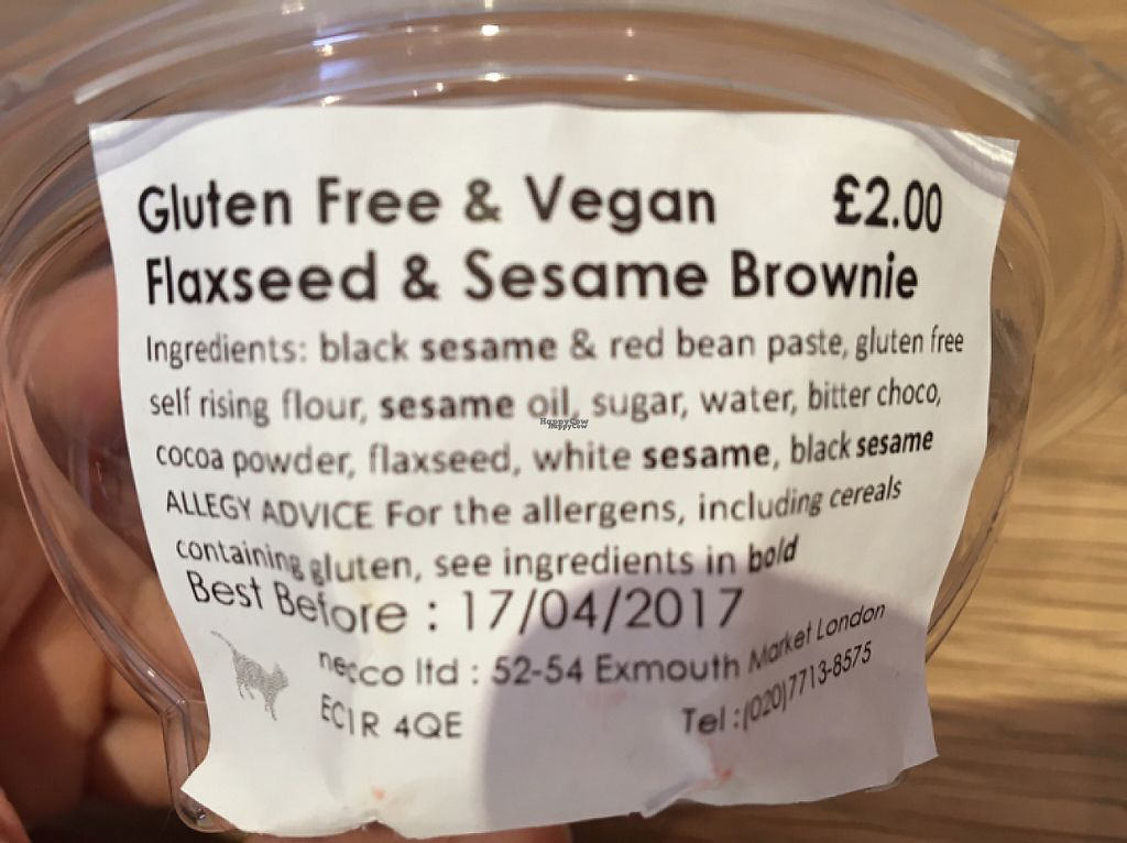 "Photo of Japan Centre  by <a href=""/members/profile/LaurenHarris"">LaurenHarris</a> <br/>Ingredients of GF/vegan flaxseed and sesame brownie <br/> April 16, 2017  - <a href='/contact/abuse/image/21876/249027'>Report</a>"
