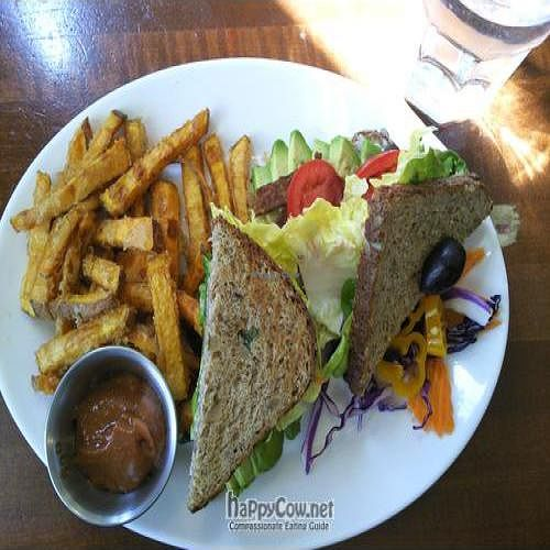 """Photo of CLOSED: McFoster's Natural Kind Cafe  by <a href=""""/members/profile/happycowgirl"""">happycowgirl</a> <br/>tempeh, lettuce & tomato sandwich w avocado & sweet potato fries <br/> April 8, 2011  - <a href='/contact/abuse/image/2188/8137'>Report</a>"""