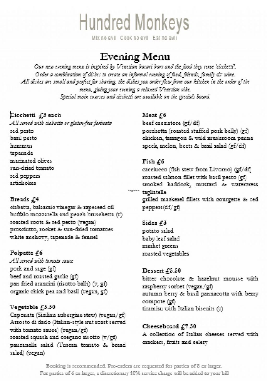 """Photo of Hundred Monkeys Cafe  by <a href=""""/members/profile/trinitybourne"""">trinitybourne</a> <br/>Latest Hundred Monkeys menu Sept 2014 with clearly labelled vegan and gluten free options <br/> September 12, 2014  - <a href='/contact/abuse/image/21952/79654'>Report</a>"""