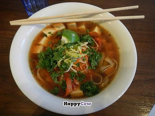 """Photo of Nudluskalin  by <a href=""""/members/profile/Meggie%20and%20Ben"""">Meggie and Ben</a> <br/>The 'Green Throughout' - Rice noodles and tofu in spicy vegetable broth with fresh chili, garlic, peppers, carrots, leek, parsley, and lime <br/> July 21, 2013  - <a href='/contact/abuse/image/22006/51758'>Report</a>"""