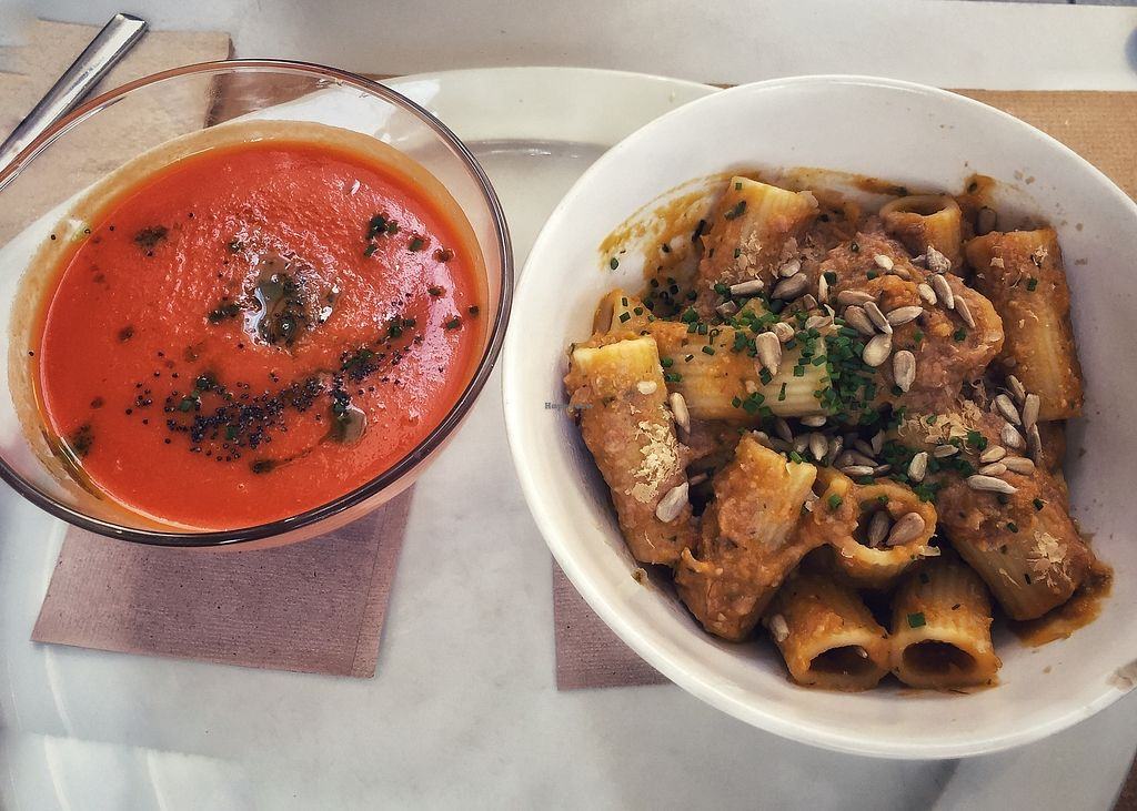 "Photo of Aguaribay  by <a href=""/members/profile/metta45"">metta45</a> <br/>Carrot lemongrass soup and a pumpkin sauce rigatoni <br/> October 25, 2017  - <a href='/contact/abuse/image/22021/318682'>Report</a>"