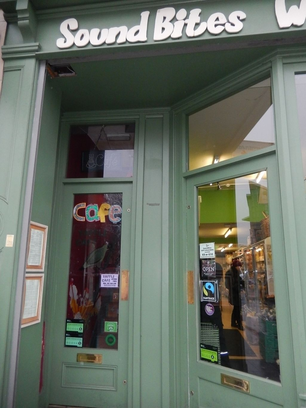 "Photo of Yaffle Cafe and Bookshop  by <a href=""/members/profile/CLRtraveller"">CLRtraveller</a> <br/>entrance is to left of Sound Bites healthfood store, go up the stairs <br/> January 26, 2017  - <a href='/contact/abuse/image/22048/217048'>Report</a>"
