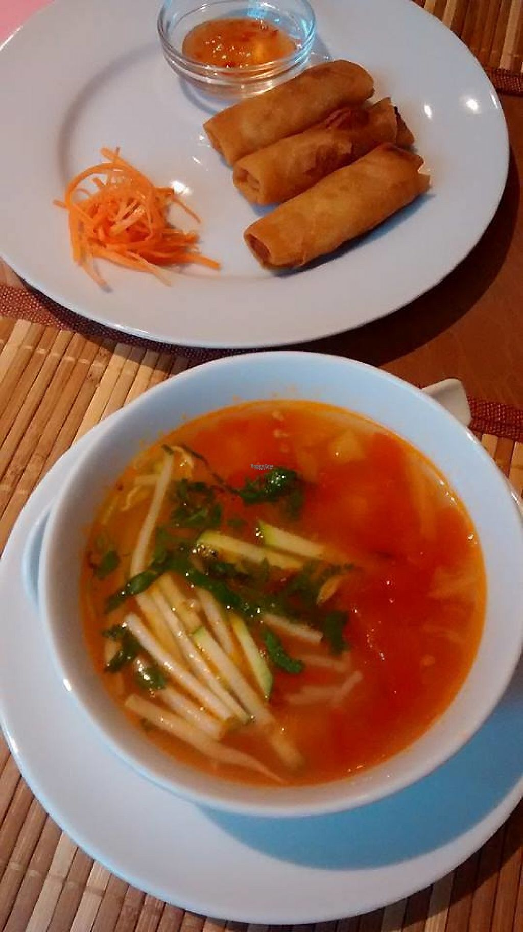 """Photo of Loving Hut  by <a href=""""/members/profile/BlisterBlue"""">BlisterBlue</a> <br/>Soup of the day and spring rolls as a first plate (included on the menu) <br/> January 10, 2017  - <a href='/contact/abuse/image/22089/210320'>Report</a>"""