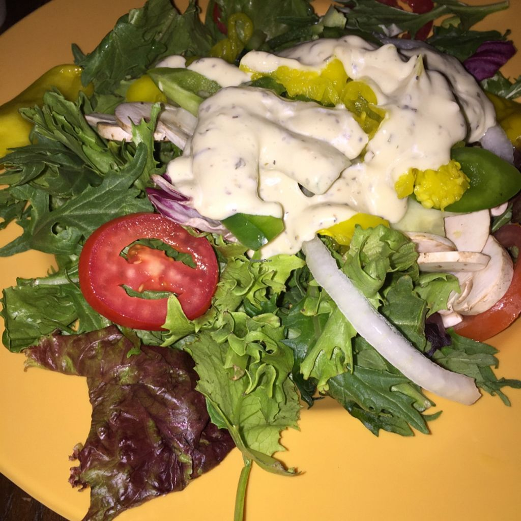 """Photo of Mellow Mushroom  by <a href=""""/members/profile/TraceyTrexlerJacobs"""">TraceyTrexlerJacobs</a> <br/>house salad with (vegan) garden dressing <br/> April 12, 2016  - <a href='/contact/abuse/image/22091/144183'>Report</a>"""