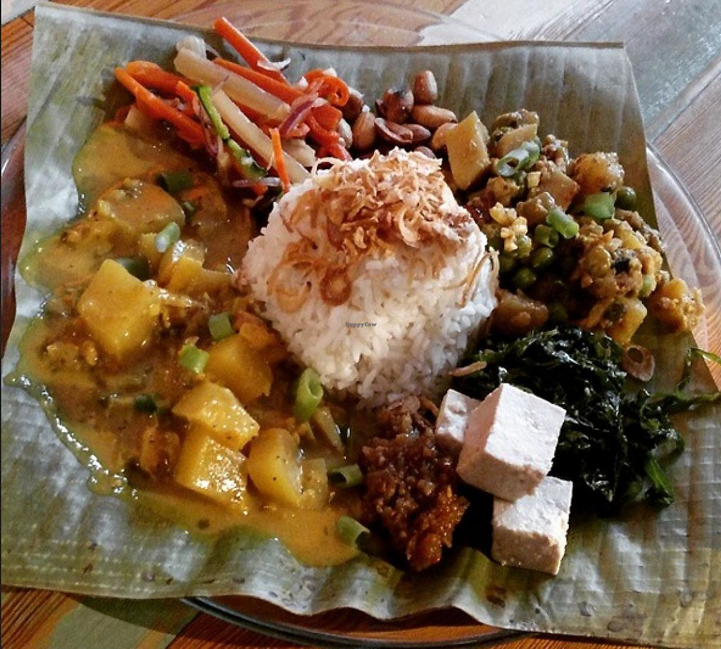 """Photo of Carmo  by <a href=""""/members/profile/crvega"""">crvega</a> <br/>Special of the day. Fragrant rice served with tempeh and vegetables, pineapple green papaya curry, pickled diakon and carrot, tofu, sauteed greens, sambal and fried peanuts  <br/> April 13, 2015  - <a href='/contact/abuse/image/22097/200915'>Report</a>"""