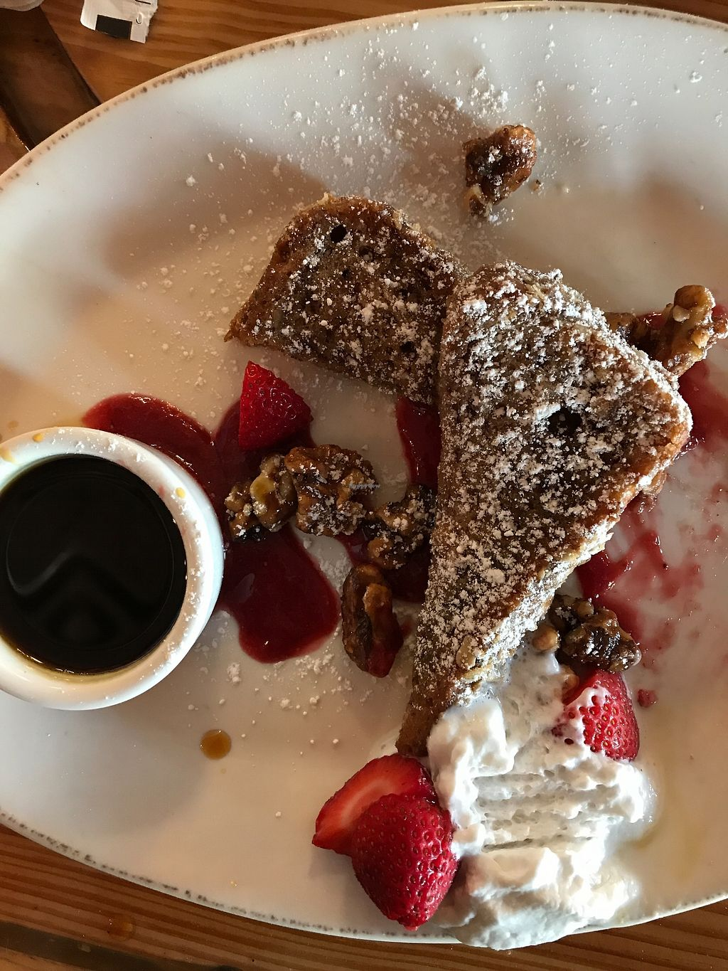 """Photo of Pomegranate Cafe - Chandler Blvd  by <a href=""""/members/profile/Katienglass"""">Katienglass</a> <br/>Strawberry French toast with walnuts and coconut cream <br/> July 24, 2017  - <a href='/contact/abuse/image/22101/284111'>Report</a>"""