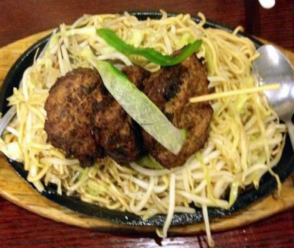 """Photo of 4 Stones Vegetarian Cuisine  by <a href=""""/members/profile/Downtown%20Tony"""">Downtown Tony</a> <br/>Teriyaki noodles with beef on hot plate <br/> October 30, 2011  - <a href='/contact/abuse/image/22151/188556'>Report</a>"""