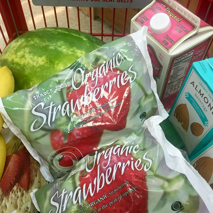 """Photo of Trader Joe's  by <a href=""""/members/profile/VeganCookieLover"""">VeganCookieLover</a> <br/>organic strawberries, almond milk, produce <br/> August 27, 2016  - <a href='/contact/abuse/image/22155/171680'>Report</a>"""