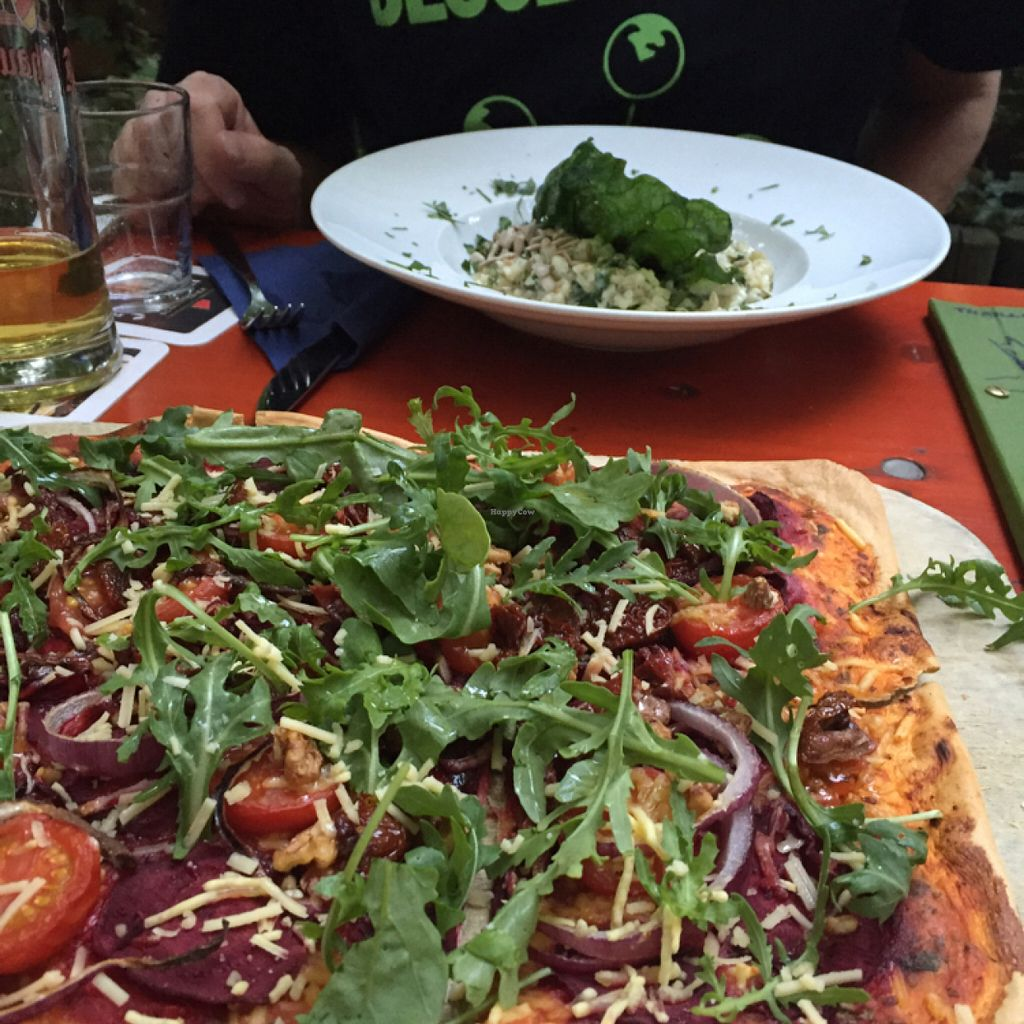 """Photo of Viasko - Bar und Restaurant  by <a href=""""/members/profile/Ezey11"""">Ezey11</a> <br/>Flammkuchen in the foreground and risotto in the background  <br/> July 23, 2016  - <a href='/contact/abuse/image/22272/161752'>Report</a>"""