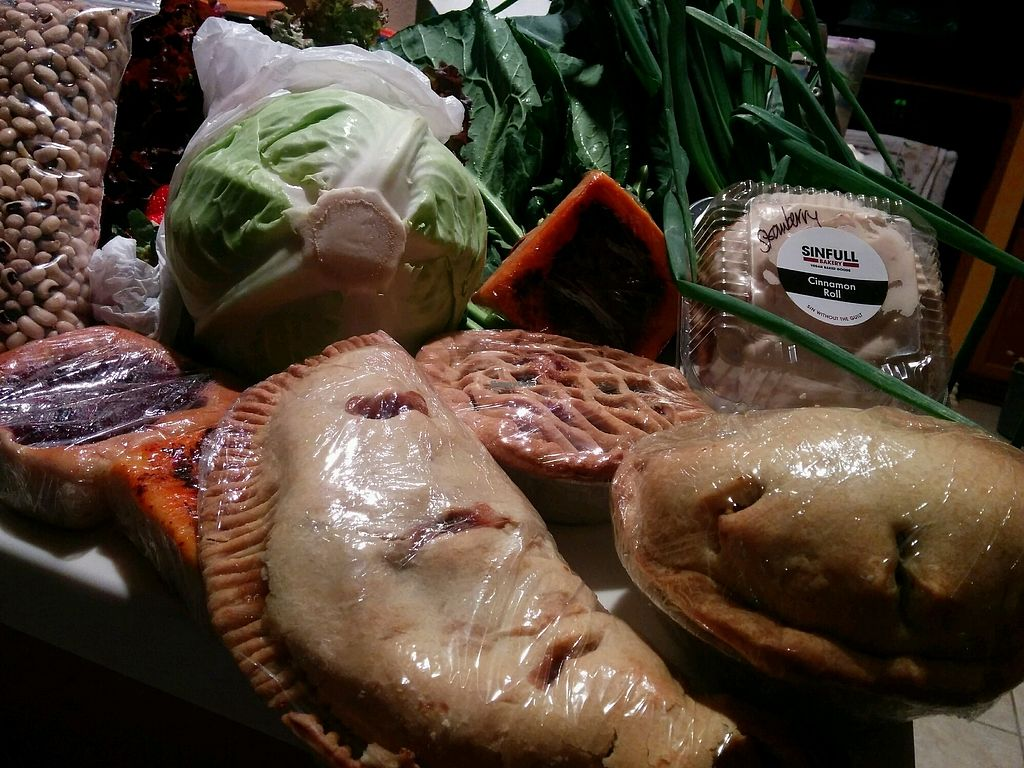 """Photo of Sinfull Bakery  by <a href=""""/members/profile/MizzB"""">MizzB</a> <br/>Strawberry cinnamon roll, blueberry pie, veggie pot pie, apple hand pie, sun dried tomatoes kolaches. Part of my Saturday morning Farmer's Market haul <br/> December 31, 2017  - <a href='/contact/abuse/image/22281/341361'>Report</a>"""