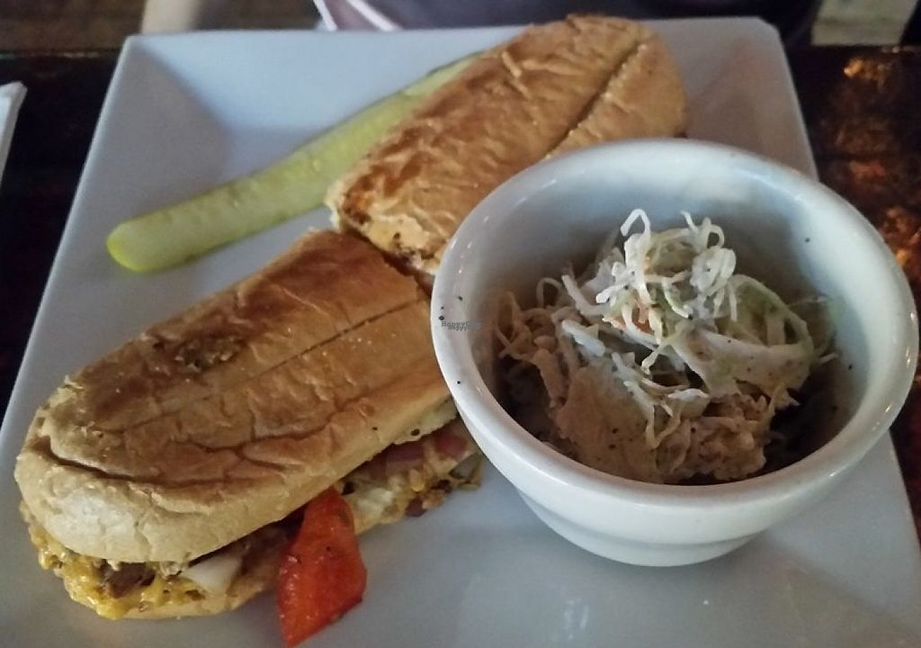 """Photo of Galaxy Hut  by <a href=""""/members/profile/Alysoun%20Mahoney"""" class=""""title__title"""">Alysoun Mahoney</a> <br/>Vegan cheesesteak sandwich and vegan coleslaw <br/> September 11, 2016  - <a href='/contact/abuse/image/22340/232107'>Report</a>"""