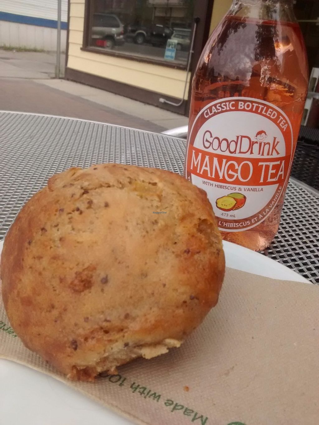 """Photo of Baked Cafe  by <a href=""""/members/profile/QuothTheRaven"""">QuothTheRaven</a> <br/>Vegan Apple raisin muffin and good drink tea  <br/> June 22, 2016  - <a href='/contact/abuse/image/22513/155491'>Report</a>"""