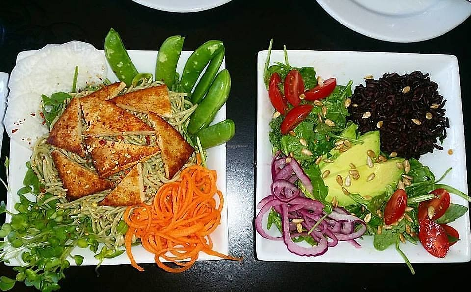 """Photo of Eatcetera  by <a href=""""/members/profile/wennysan"""">wennysan</a> <br/>Amazing food! Massaged kale salad (although they were out of kale so I subbed with spinach and arugula), avocado, black rice, cherry tomatoes and the best miso mustard dressing I've ever tasted! Also got the green tea soba noodle salad with carrot spirals, daikon radish, sprouts, snap peas, seared tofu and a ginger miso dressing! SO SO good! Many vegan options and you can veganize just about anything on the menu! <br/> July 15, 2017  - <a href='/contact/abuse/image/22577/280682'>Report</a>"""