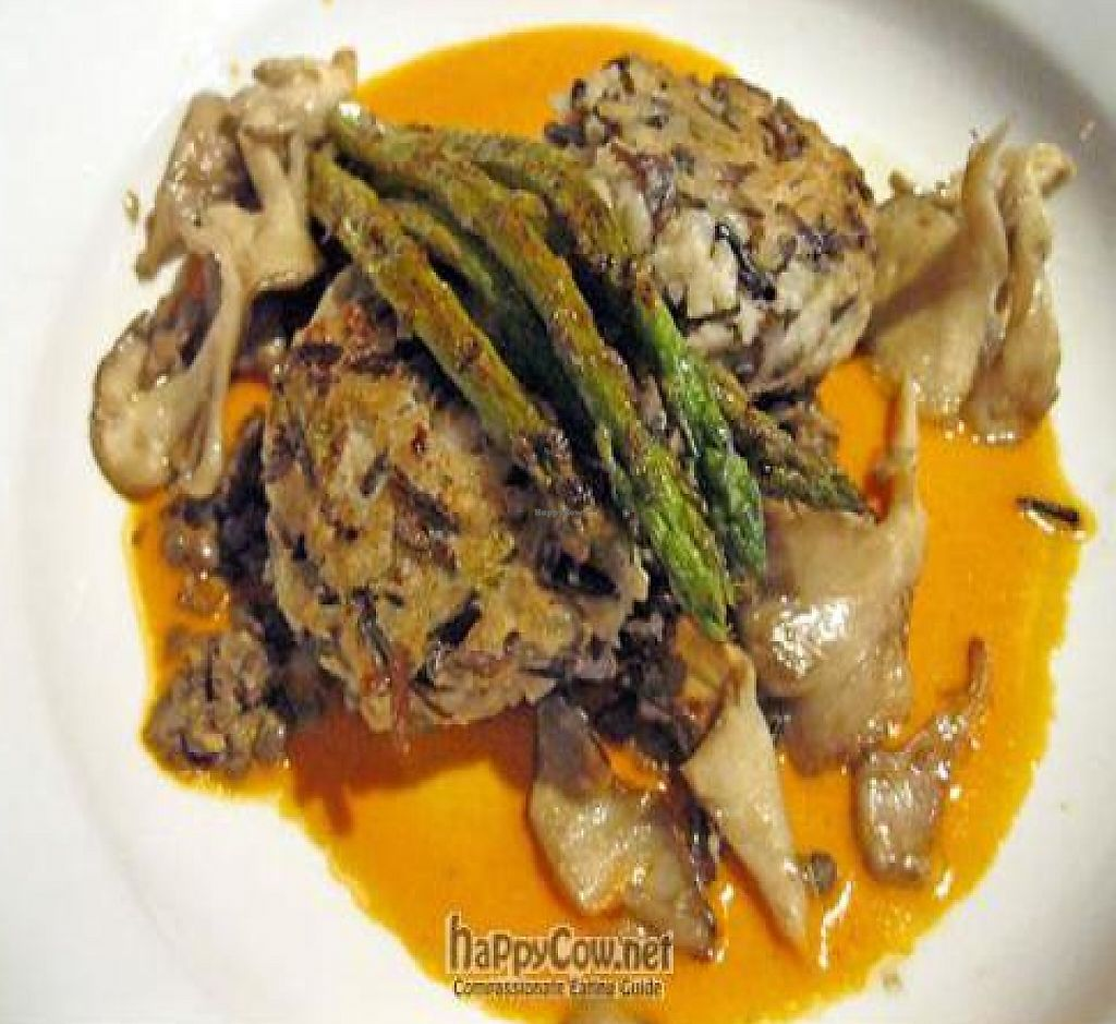 "Photo of Caravan of Dreams  by <a href=""/members/profile/From%20A%20to%20Vegan"">From A to Vegan</a> <br/>Wild Rice and Cremini Risotto Croquettes with Shiitake mushrooms, roasted red pepper puree, asparagus and French lentils <br/> August 16, 2011  - <a href='/contact/abuse/image/2261/210684'>Report</a>"