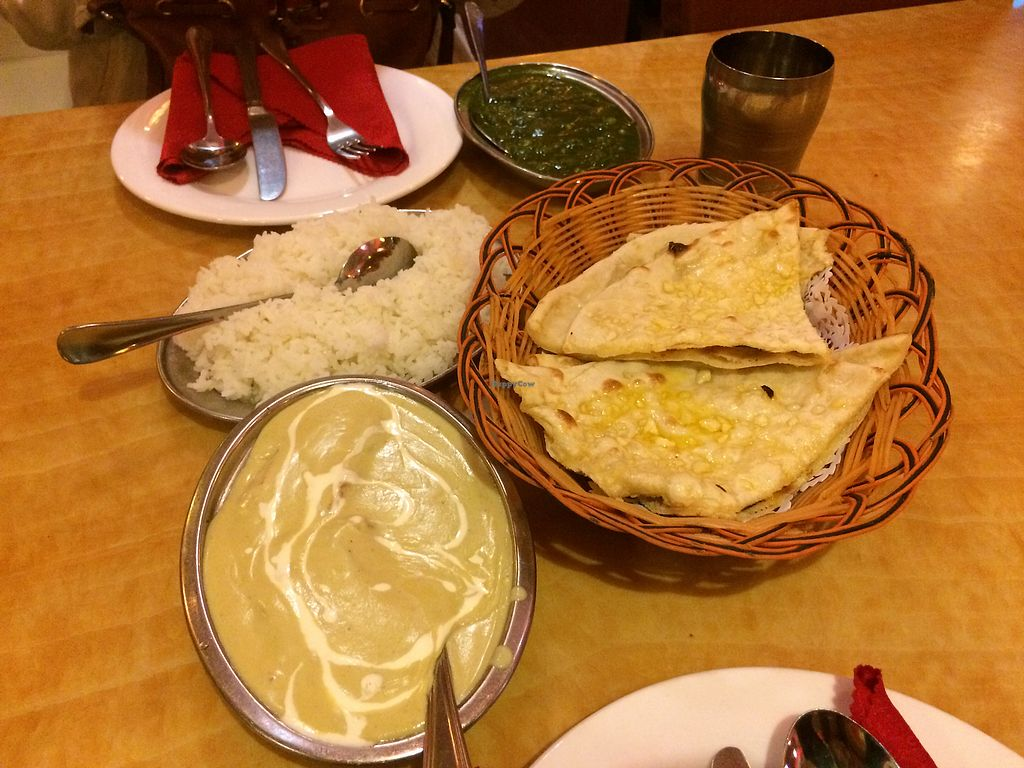 """Photo of Delhi Darbar  by <a href=""""/members/profile/Italian.vegan"""">Italian.vegan</a> <br/>Kofta, garlic naan and spinach and corn at the back <br/> October 10, 2017  - <a href='/contact/abuse/image/22748/313935'>Report</a>"""