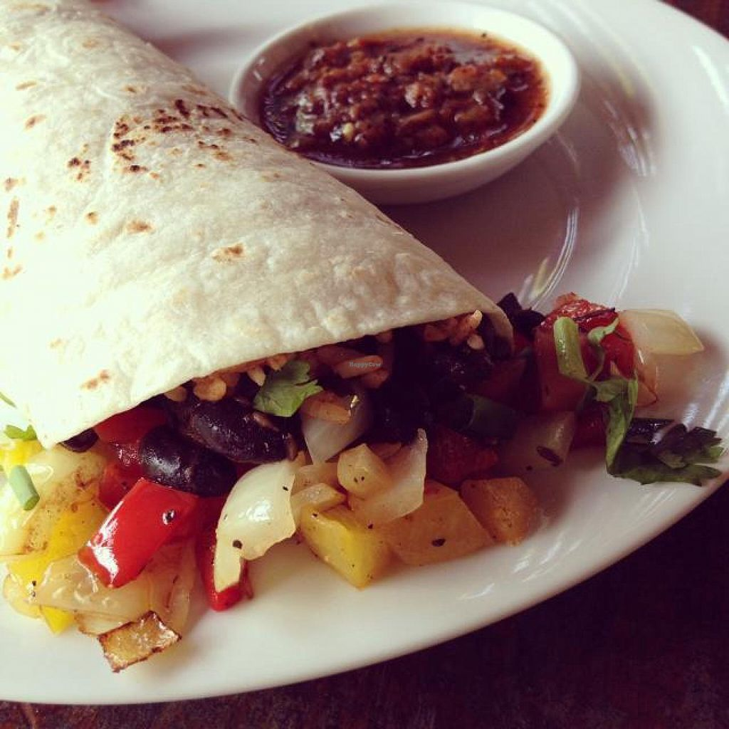 """Photo of Rusty Pelican  by <a href=""""/members/profile/mikeybutt"""">mikeybutt</a> <br/>Burrito. I asked to have it be made vegan. success! <br/> December 1, 2014  - <a href='/contact/abuse/image/22858/87021'>Report</a>"""
