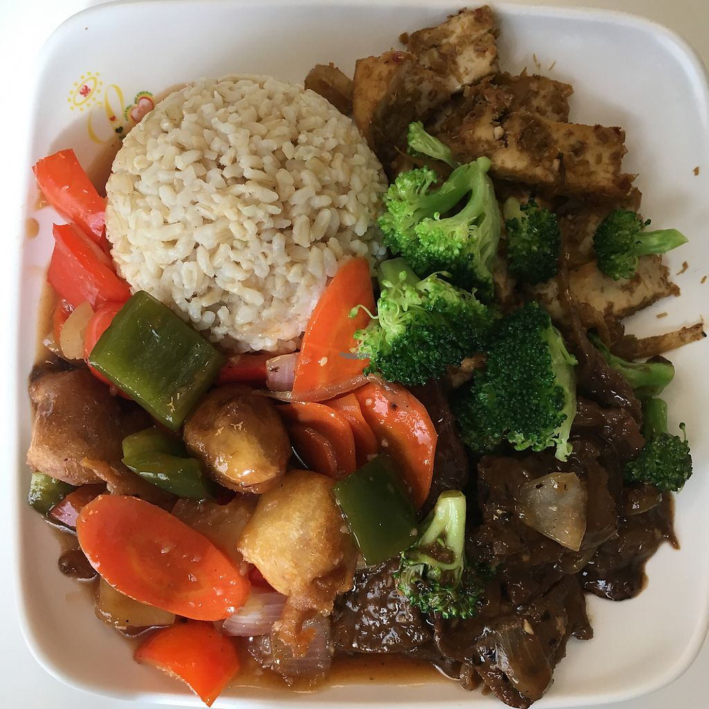 """Photo of Loving Hut - Honolulu South King St  by <a href=""""/members/profile/earthville"""">earthville</a> <br/>3-item plate <br/> January 29, 2017  - <a href='/contact/abuse/image/22933/218790'>Report</a>"""
