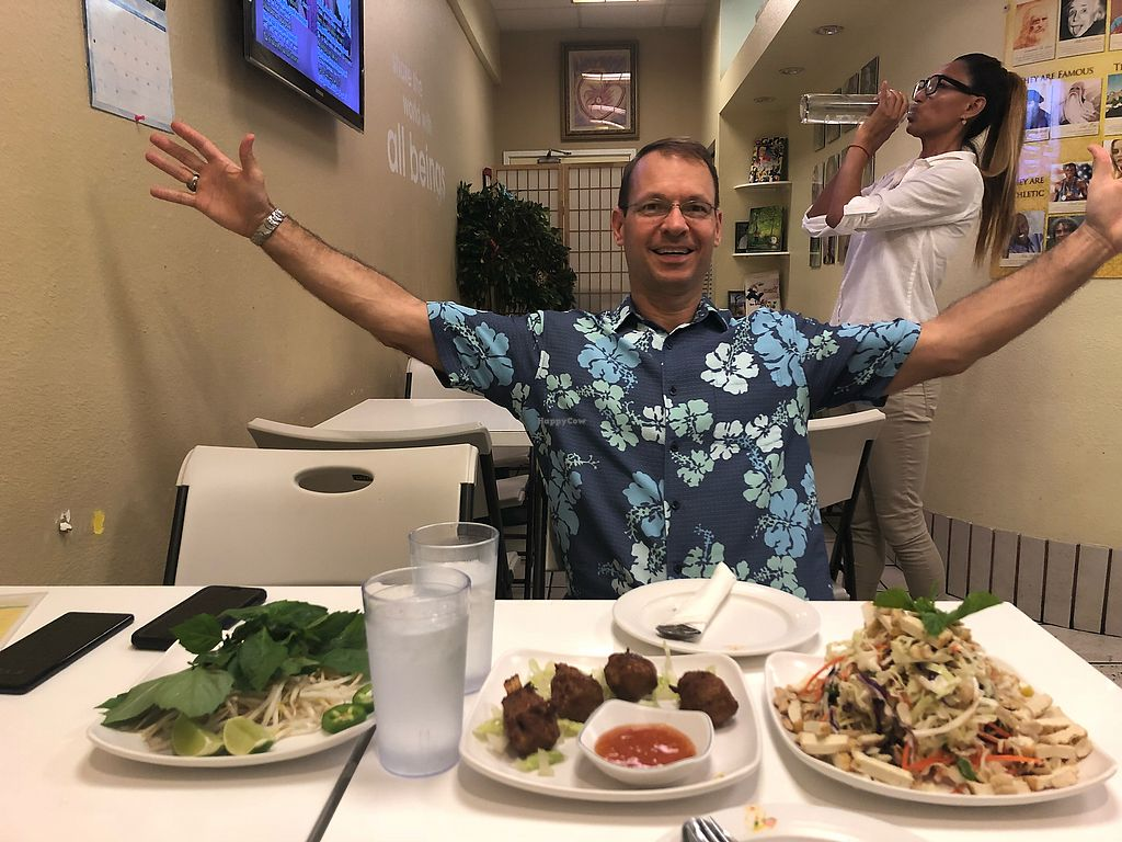 """Photo of Loving Hut - Honolulu South King St  by <a href=""""/members/profile/getplantstrong"""">getplantstrong</a> <br/>Date night with my wife and delicious plant based/vegan cuisine! ??? <br/> April 26, 2018  - <a href='/contact/abuse/image/22933/391151'>Report</a>"""